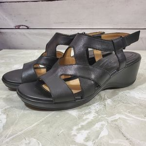 Naturalizer Leather Tanner Wedge Sandals Sz 6.5W